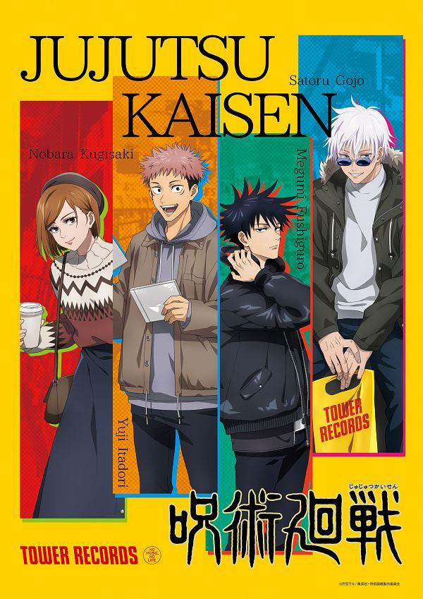 Tags: Anime, MAPPA, Jujutsu Kaisen, Itadori Yuuji, Gojou Satoru, Kugisaki Nobara, Fushiguro Megumi, Text: Brand Name, Plastic Bag, CD (Object), Collage, Twitter, Official Art