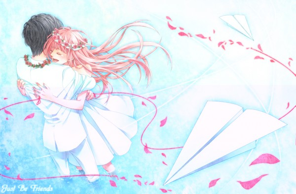 Tags: Anime, Teinpomu, Project DIVA 2nd, VOCALOID, Megurine Luka, Paper Airplane, Wallpaper, Just Be Friends, Project DIVA Chiffon Dress, Pixiv
