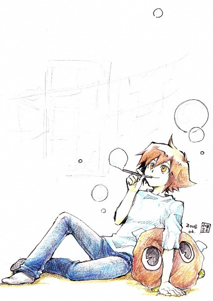 Tags: Anime, Pixiv Id 381352, Yu-Gi-Oh!, Yu-Gi-Oh! GX, Winged Kuriboh, Juudai Yuuki, Mobile Wallpaper, Pixiv, Jaden Yuki