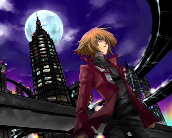 Tags: Anime, Pixiv Id 376152, Yu-Gi-Oh!, Yu-Gi-Oh! GX, Juudai Yuuki, Skyscraper, Pixiv, Fanart From Pixiv, Fanart, Jaden Yuki