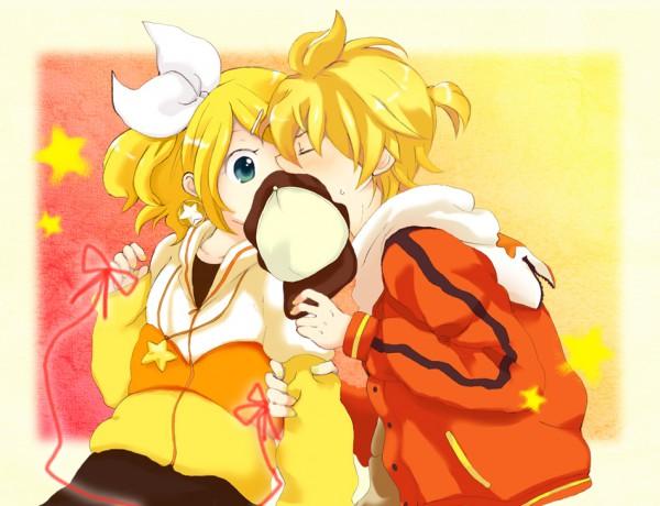 Tags: Anime, Hazuki (Pacco), VOCALOID, Kagamine Rin, Kagamine Len, Censored Kiss, Juvenile, Kagamine Mirrors