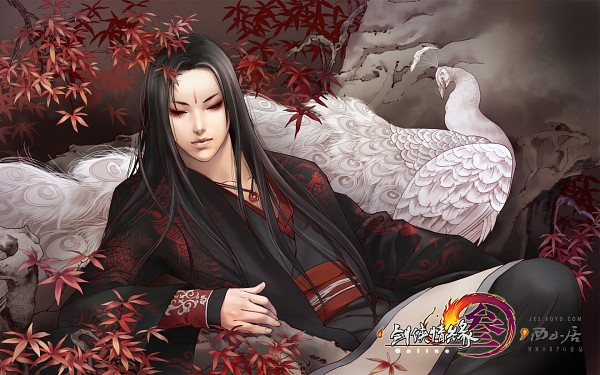 Tags: Anime, Zhang Xiaobai, Jx Online, Peacock, Wallpaper, Official Art