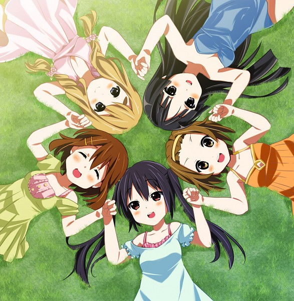 Tags: Anime, Yamori, K-ON!, Nakano Azusa, Hirasawa Yui, Tainaka Ritsu, Kotobuki Tsumugi, Akiyama Mio, Laying on Grass, Backlight, Laying in Circle, Pixiv, Fanart