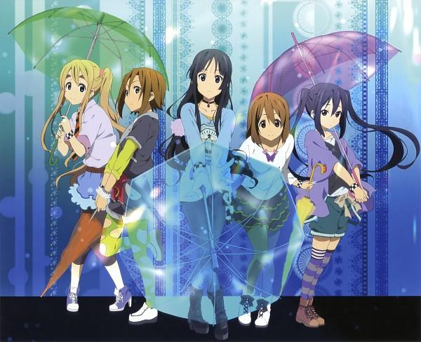 Tags: Anime, Horiguchi Yukiko, Kyoto Animation, K-ON!, Nakano Azusa, Tainaka Ritsu, Kotobuki Tsumugi, Akiyama Mio, Hirasawa Yui, Detailed, Transparent Object, See Through Umbrella, Official Art