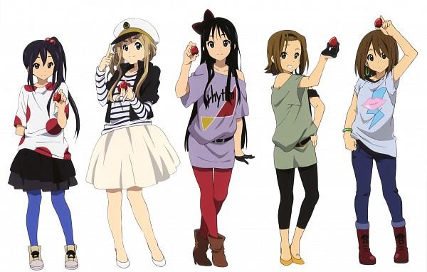 Tags: Anime, Horiguchi Yukiko, Kyoto Animation, K-ON!, Nakano Azusa, Hirasawa Yui, Tainaka Ritsu, Kotobuki Tsumugi, Akiyama Mio, Leggings, Official Art, Listen!!