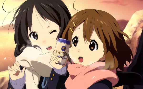 Tags: Anime, Sakamoto Kazuya, Horiguchi Yukiko, K-ON!, Akiyama Mio, Hirasawa Yui, Official Art, Wallpaper, Magazine (Source), HD Wallpaper