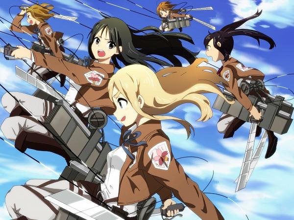 Tags: Anime, Poruka, K-ON!, Tainaka Ritsu, Kotobuki Tsumugi, Akiyama Mio, Nakano Azusa, Hirasawa Yui, Shingeki no Kyojin (Cosplay), Fanart, Fanart From Pixiv, Pixiv