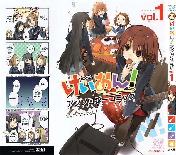 Tags: Anime, K-ON!, Hirasawa Yui, Tainaka Ritsu, Kotobuki Tsumugi, Akiyama Mio, Speaker, 4koma, Comic, Manga Cover, Official Art, Scan