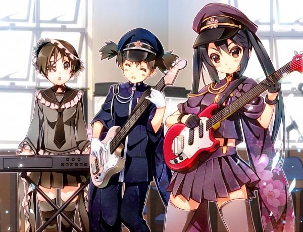 Tags: Anime, Nyoronyoro, K-ON!, Project DIVA F, Hirasawa Ui, Suzuki Jun, Nakano Azusa, KAITO (Cosplay), Electric Guitar, Kagamine Rin (Cosplay), Hatsune Miku (Cosplay), Guitar Strap, Keyboard (Instrument)