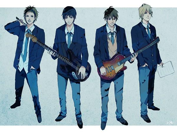 Tags: Anime, Sumishuu, K-ON!, Akiyama Mio, Hirasawa Yui, Tainaka Ritsu, Kotobuki Tsumugi, Bass Guitar, Drumsticks, Pixiv