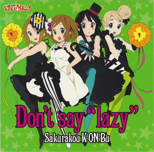 "Tags: Anime, Kyoto Animation, K-ON!, Akiyama Mio, Hirasawa Yui, Tainaka Ritsu, Kotobuki Tsumugi, Green Legwear, Vertical-striped Legwear, Official Art, Don't Say ""Lazy"", Scan"