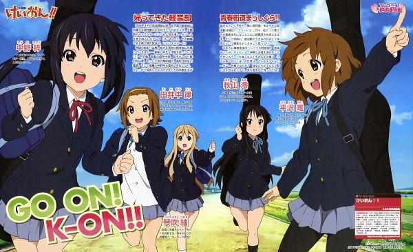 Tags: Anime, Horiguchi Yukiko, Kyoto Animation, K-ON!, Tainaka Ritsu, Kotobuki Tsumugi, Akiyama Mio, Hirasawa Yui, Nakano Azusa, Scan, Wallpaper, Official Art