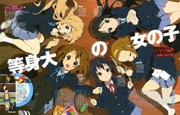 Tags: Anime, Horiguchi Yukiko, Kyoto Animation, K-ON!, Kotobuki Tsumugi, Akiyama Mio, Nakano Azusa, Hirasawa Yui, Tainaka Ritsu, Chips, Laying in Circle, Newtype Magazine (Source), Magazine (Source)