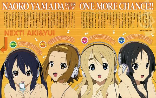Tags: Anime, Sakamoto Kazuya, Horiguchi Yukiko, Kyoto Animation, K-ON!, Kotobuki Tsumugi, Akiyama Mio, Nakano Azusa, Tainaka Ritsu, iPod, Official Art, Magazine (Source), Scan