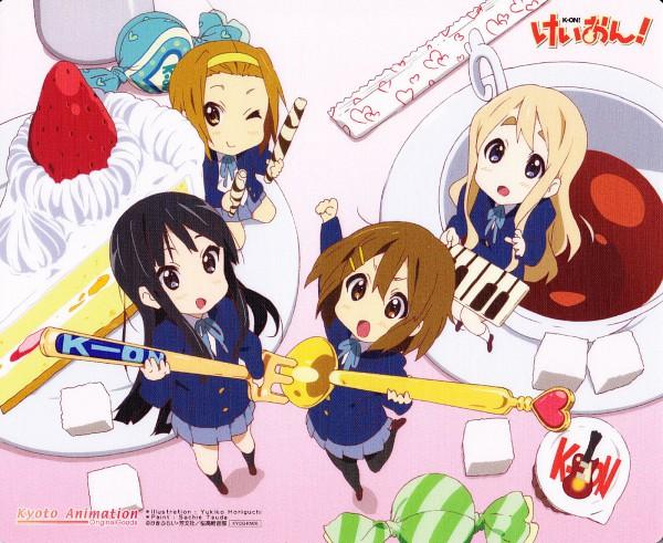 Tags: Anime, Horiguchi Yukiko, Kyoto Animation, K-ON!, Tainaka Ritsu, Kotobuki Tsumugi, Akiyama Mio, Hirasawa Yui, Sugar Cube, Scan, Official Art