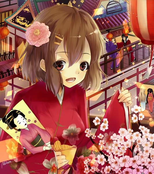 Tags: Anime, Ablaze, K-ON!, Tainaka Ritsu, Kotobuki Tsumugi, Akiyama Mio, Hirasawa Yui, Nakano Azusa, Shrine, Paddle, Hanetsuki