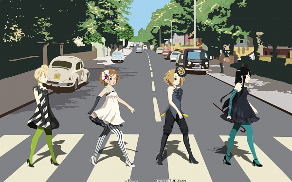 Tags: Anime, K-ON!, Akiyama Mio, Hirasawa Yui, Tainaka Ritsu, Kotobuki Tsumugi, Crosswalk, The Beatles (Parody), Artist Request, Wallpaper, HD Wallpaper