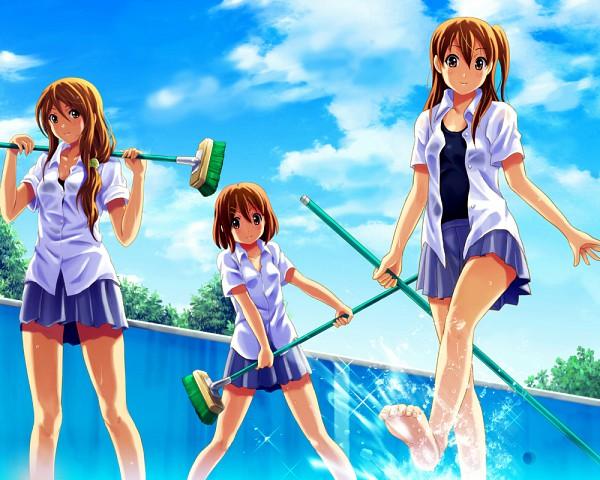 Tags: Anime, Shian (My Lonly Life.), K-ON!, Tachibana Himeko, Hirasawa Yui, Taki Eri, Empty Pool, Cleaning, Splash