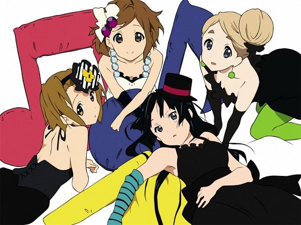 Tags: Anime, K-ON!, Hirasawa Yui, Tainaka Ritsu, Kotobuki Tsumugi, Akiyama Mio, Hand on Stomach, Colored Eyelashes