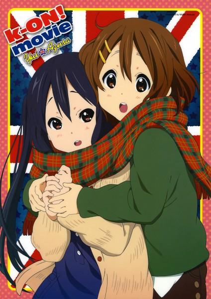 Tags: Anime, Horiguchi Yukiko, Kyoto Animation, K-ON!, Nakano Azusa, Hirasawa Yui, Official Art, Mobile Wallpaper