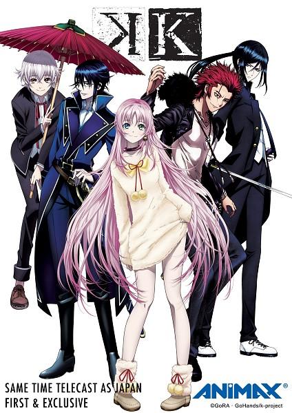 Tags: Anime, Animax, K Project, Suoh Mikoto, Yatogami Kuroh, Neko (K Project), Isana Yashiro, Munakata Reisi, Mobile Wallpaper