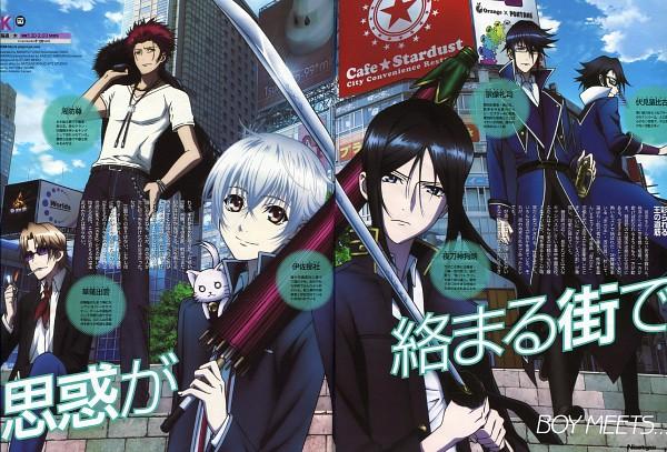 Tags: Anime, Furuta Makoto, K Project, Isana Yashiro, Fushimi Saruhiko, Munakata Reisi, Suoh Mikoto, Neko (K Project), Kusanagi Izumo, Lighter, Scan, Official Art, Newtype Magazine (Source)