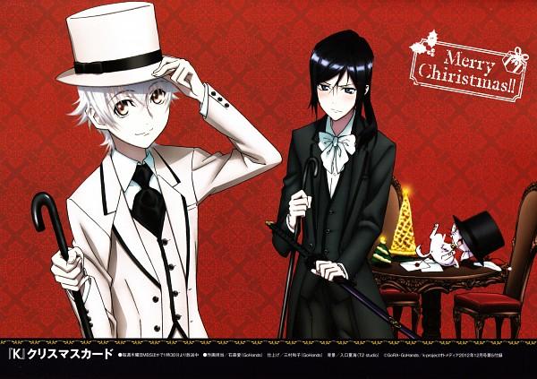 Tags: Anime, GoHands, K Project, Yatogami Kuroh, Isana Yashiro, Neko (K Project), Scan, Official Art