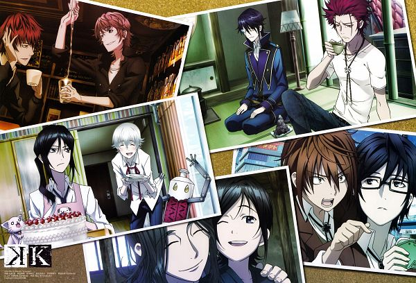 Tags: Anime, K Project, Miwa Ichigen, Suoh Mikoto, Yata Misaki, Yatogami Kuroh, Kusanagi Izumo, Fushimi Saruhiko, Isana Yashiro, Neko (K Project), Munakata Reisi, Official Art, Scan