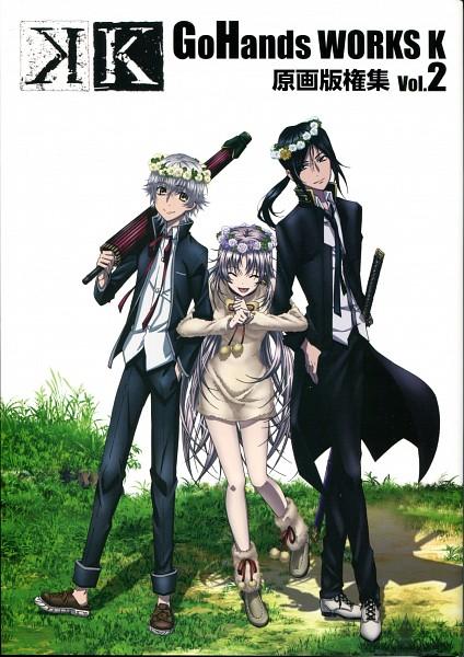 Tags: Anime, GoHands, K Project, Isana Yashiro, Neko (K Project), Yatogami Kuroh, Official Art, Scan, Mobile Wallpaper