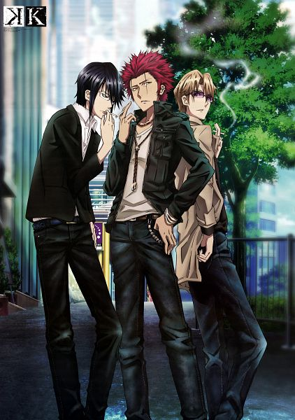 Tags: Anime, GoHands, K Project, Munakata Reisi, Suoh Mikoto, Kusanagi Izumo, Mobile Wallpaper, Official Art, Scan