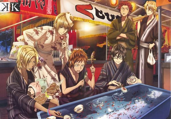 Tags: Anime, GoHands, K Project, Kusanagi Izumo, Fushimi Saruhiko, Kamamoto Rikio, Suoh Mikoto, Totsuka Tatara, Yata Misaki, Scan, Official Art