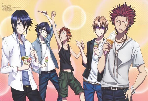 Tags: Anime, Ishimori Ai, GoHands, K Project, Kusanagi Izumo, Fushimi Saruhiko, Munakata Reisi, Suoh Mikoto, Yata Misaki, Official Art, Scan