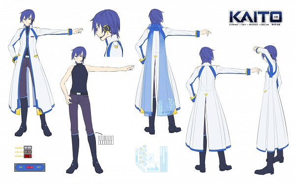 Tags: Anime, iXima, VOCALOID, KAITO, Official Art, Character Sheet, V3, Wallpaper