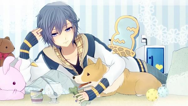 Tags: Anime, Agi (kankarado), VOCALOID, KAITO, Dog Treats, Facebook Cover, HD Wallpaper, Wallpaper