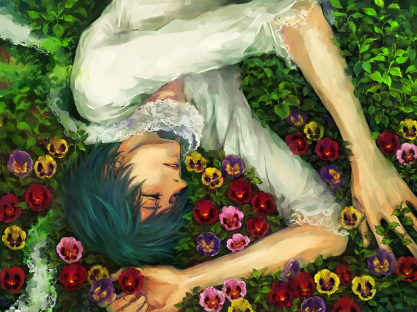 Tags: Anime, VOCALOID, KAITO, Peaceful, Pansy