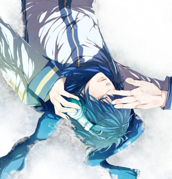 Tags: Anime, Cddramadigi, VOCALOID, KAITO, Hand on Headphones, Fanart, Pixiv