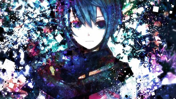 Tags: Anime, Sazanami Shione, VOCALOID, KAITO, Abstract Background, Fanart, Pixiv, HD Wallpaper, Facebook Cover, Wallpaper