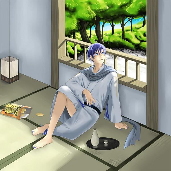 Tags: Anime, Pixiv Id 261964, VOCALOID, KAITO, Sake Bottle, Chips, Fanart, Pixiv