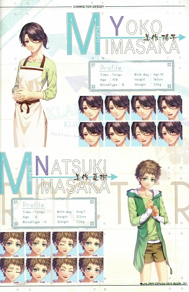 Tags: Anime, Kawahito Yasutake, Otomate, DESIGN FACTORY, Klap!! ~Kind Love And Punish~ Official Art Book, KLAP!! ~Kind Love And Punish~, Mimasaka Natsuki, Mimasaka Yoko, Artworks, Self Scanned, Official Character Information, Scan, Official Art