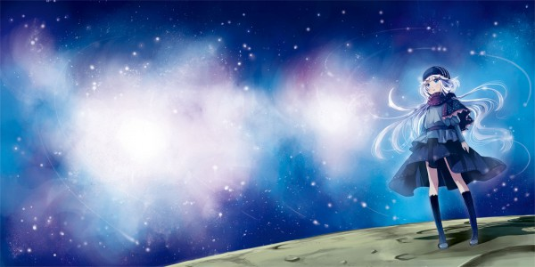 Tags: Anime, Kaedena Akino, Stargazing, Surreal, Galaxy, Shooting Stars, Facebook Cover, Pixiv, Original