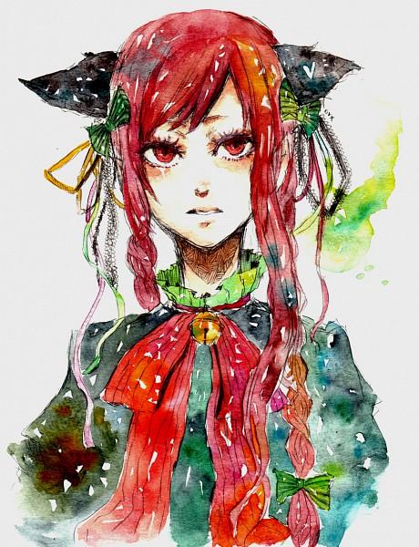 Tags: Anime, Sakuma, Touhou, Kaenbyou Rin, Traditional Media, Watercolor, Rin Kaenbyou