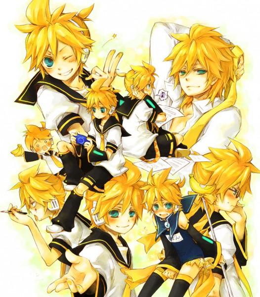 Tags: Anime, Yukkii, VOCALOID, Kagamine Len, Name Tag, Yellow, Spice!, Fanart, cosMo-p, Pixiv, Kagamine Len no Bousou, Song-Over, Len Kagamine