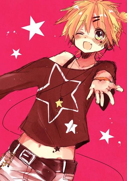 Tags: Anime, Nukoyuu, VOCALOID, Kagamine Len, Shoulder-less Shirt, Mobile Wallpaper, Len Kagamine