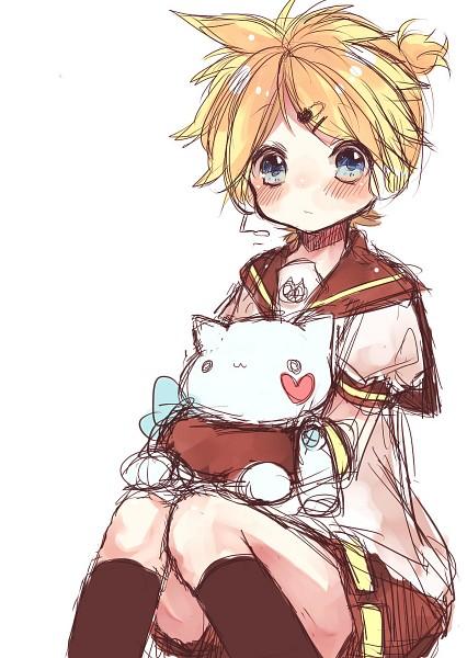 Tags: Anime, Nukoyuu, VOCALOID, Kagamine Len, Hugging Doll, Mobile Wallpaper, Len Kagamine