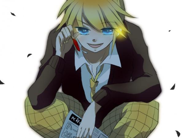 Tags: Anime, VOCALOID, Kagamine Len, Newspaper, Black Flower, Len Kagamine