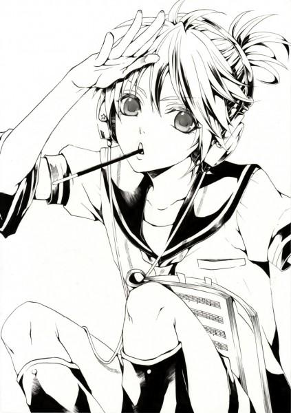 Tags: Anime, Hakuseki, VOCALOID, Kagamine Len, Sheet Music, Mobile Wallpaper, Line Art, Len Kagamine