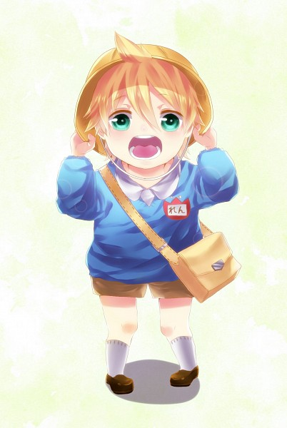 Tags: Anime, Pixiv Id 4215338, VOCALOID, Kagamine Len, Name Tag, Kindergarten, Kindergarten Uniform, Brown Shorts, Yellow Hat, Mobile Wallpaper, Len Kagamine
