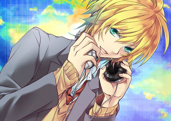 Tags: Anime, Teito, Hand on Headphones, Pixiv, Fanart, Fanart From Pixiv, PNG Conversion, Len Kagamine
