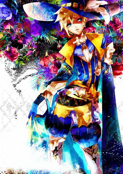 Tags: Anime, ALYSSA (Pixiv1037889), VOCALOID, Kagamine Len, Hat Feather, Yellow Pants, Mobile Wallpaper, Pixiv, Fanart From Pixiv, PNG Conversion, Fanart, Len Kagamine