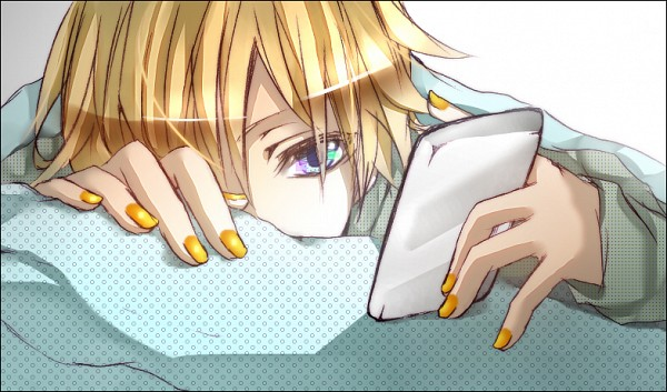 Tags: Anime, Sakaegutikunn, VOCALOID, Kagamine Len, Holding Phone, Fanart From Pixiv, PNG Conversion, Fanart, Piapro Illustrated, Fanart From Piapro, Pixiv, Len Kagamine